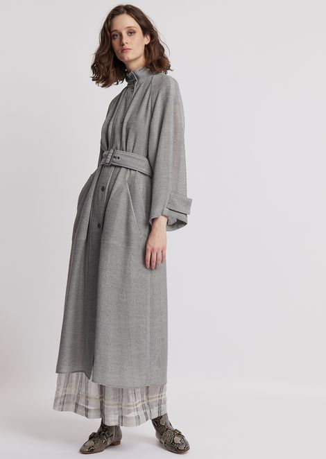 Duster coat in leno-weave fabric with belt