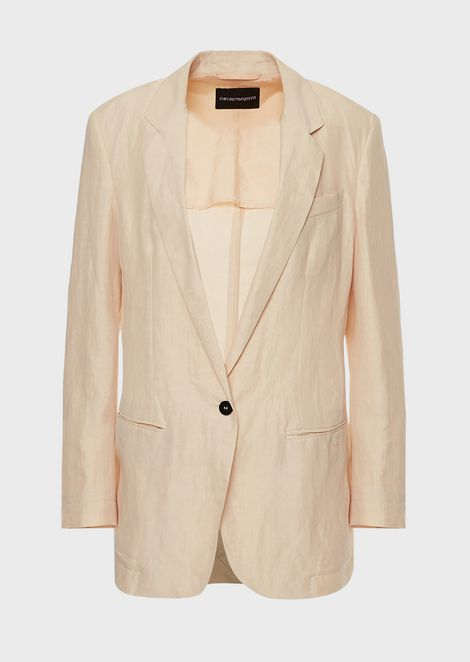Oversized, single-breasted jacket in gabardine
