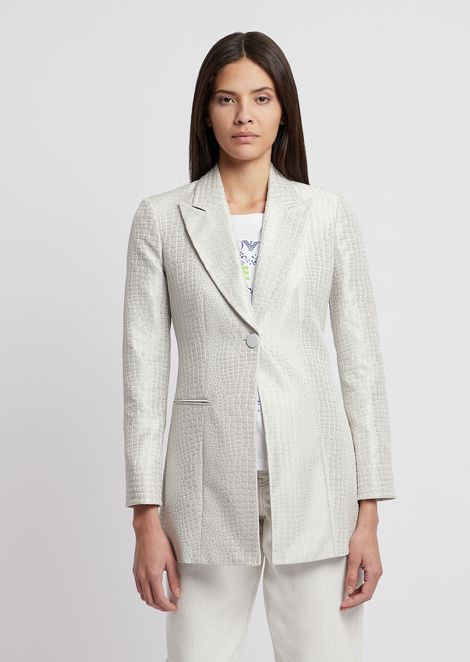 Long jacket in crocodile-motif jacquard fabric
