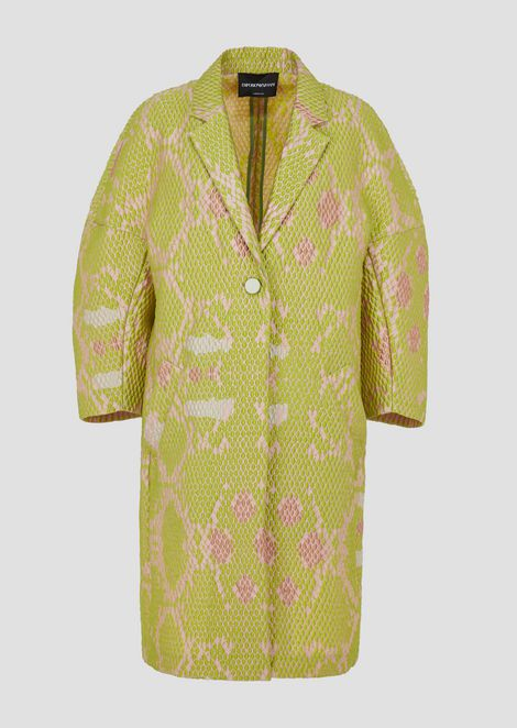 Oversized duster coat in snake-motif jacquard fabric