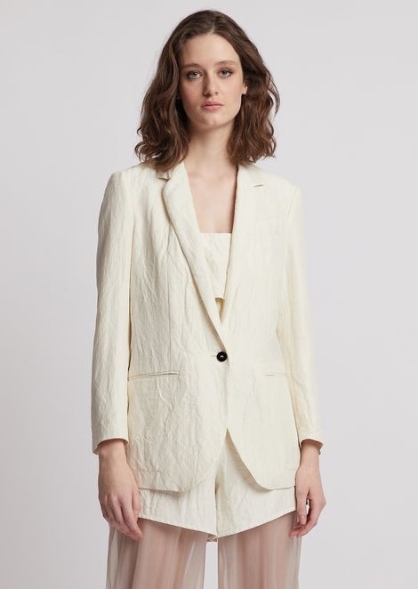 13044283c590 Oversized, single-breasted jacket in gabardine