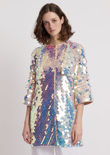 Duster coat with maxi-sequin embroidery
