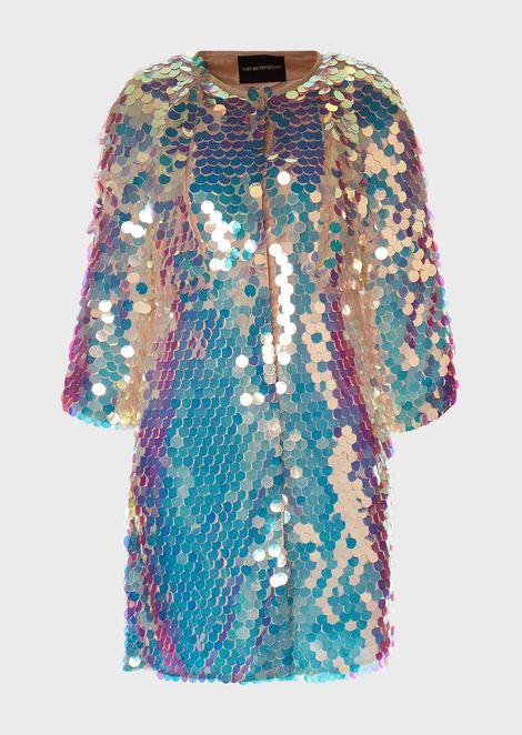 ダスターコート マキシスパンコールの刺繍