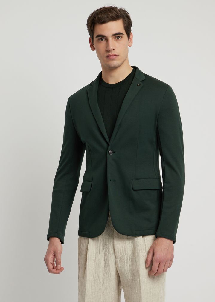 3475935a42 Single-breasted jacket in cotton interlock