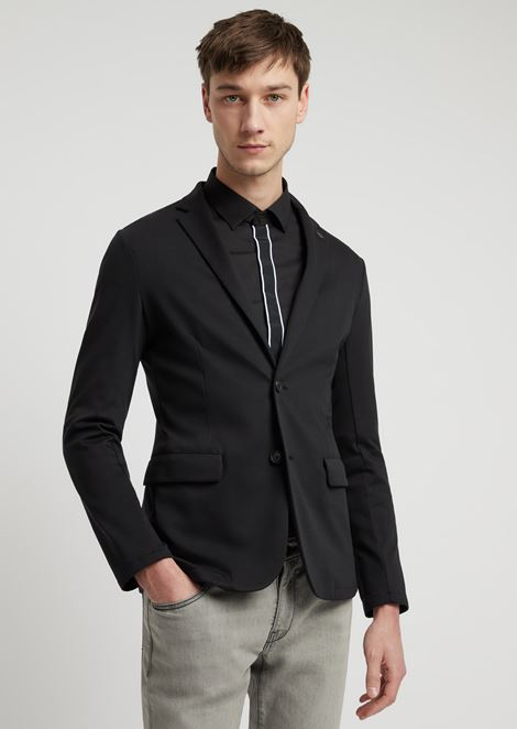 Single-breasted jacket in cotton interlock