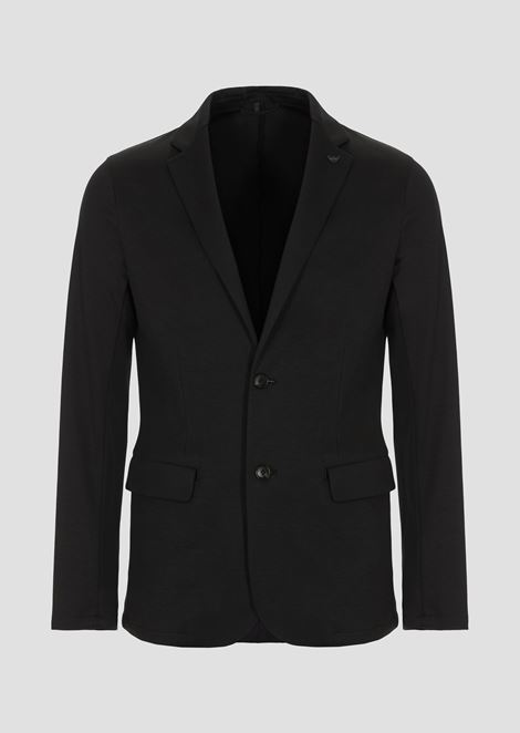 Single-breasted jacket in cotton interlock