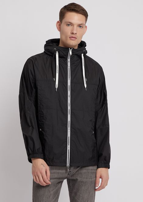 Blouson in ripstop nylon with logoed drawstring and hood with visor