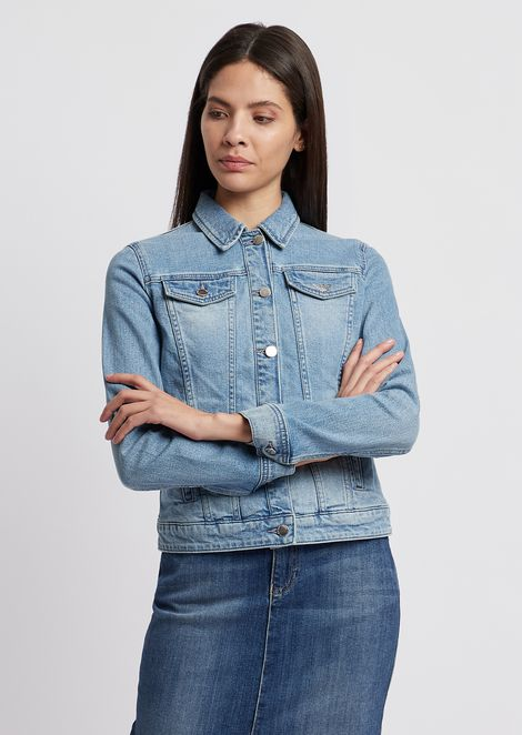 Jacket in vintage-effect denim