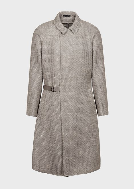 Duster coat in crepon silk blend with matching belt