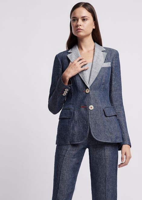Jacket in denim-effect linen with contrasting lapels