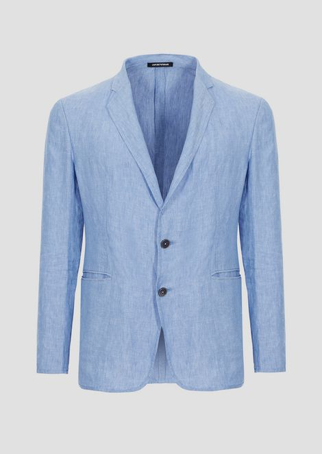 Chambray linen single-breasted jacket