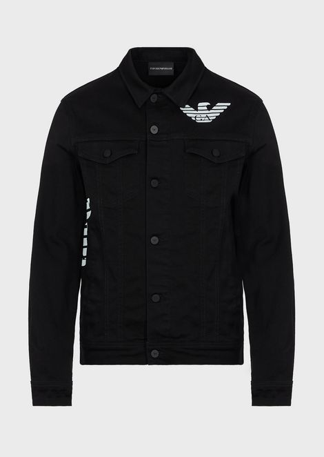 Blouson in stretch bull cotton with eagle print