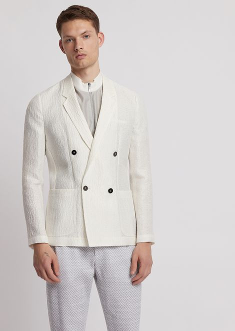Double-breasted jacket in astrakhan-effect textured fabric