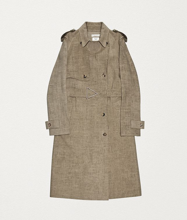BOTTEGA VENETA TRENCH COAT IN LINEN Outerwear and Jacket Woman fp