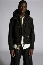 DSQUARED2 Over-Dyed Multi Pocket Military Hooded Bomber Jacket Man