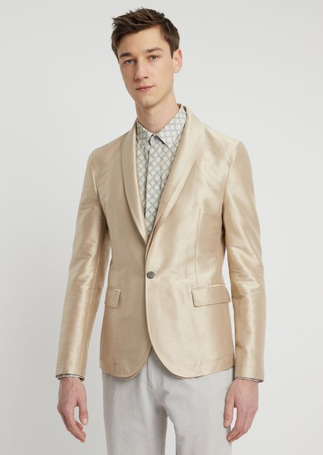 Single-breasted jacket in glossy silk blend