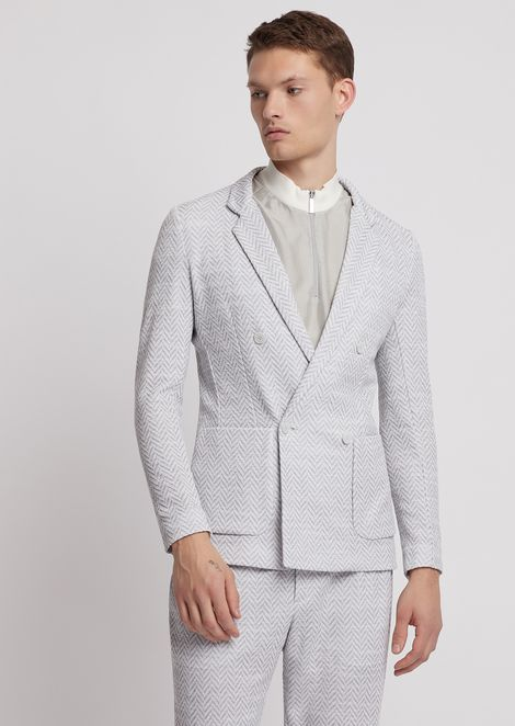Double-breasted jacket in micro-houndstooth jacquard fabric