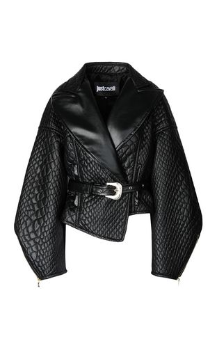 JUST CAVALLI Blazer Woman Quilted effect faux leather jacket f