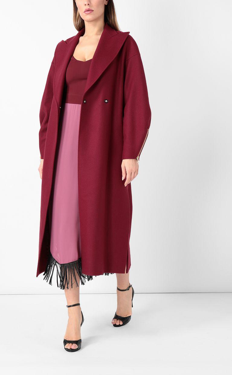 JUST CAVALLI Burgundy coat with belt Coat Woman d