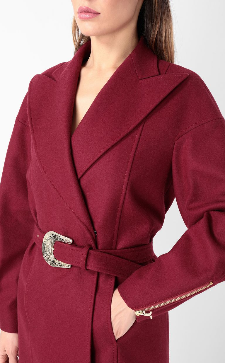 JUST CAVALLI Burgundy coat with belt Coat Woman e