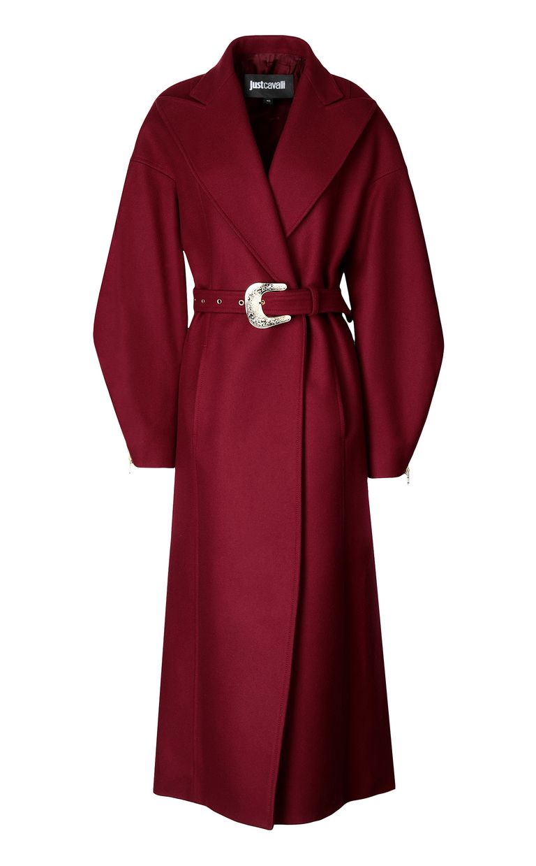 JUST CAVALLI Burgundy coat with belt Coat Woman f