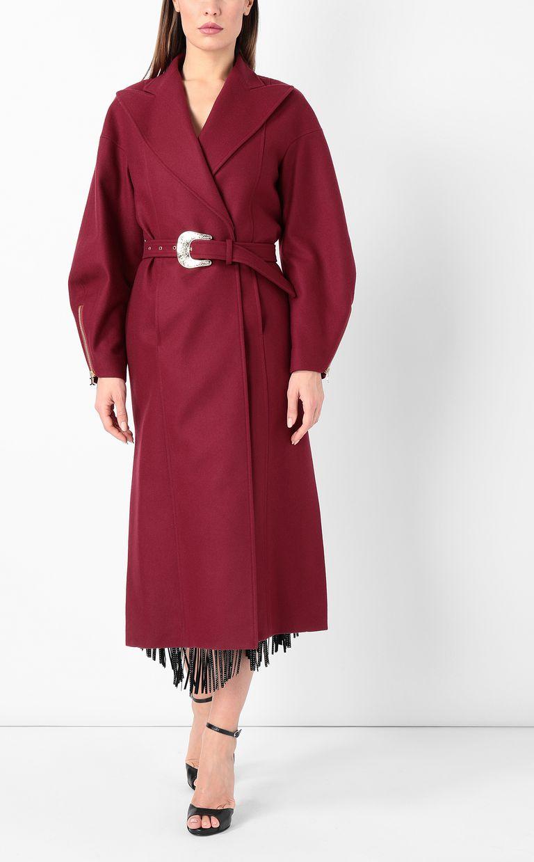 JUST CAVALLI Burgundy coat with belt Coat Woman r