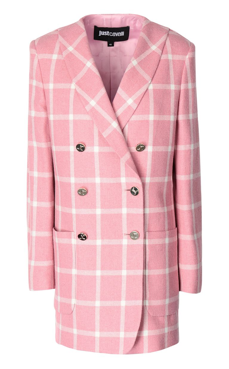 JUST CAVALLI Double-breasted tartan jacket Blazer Woman f