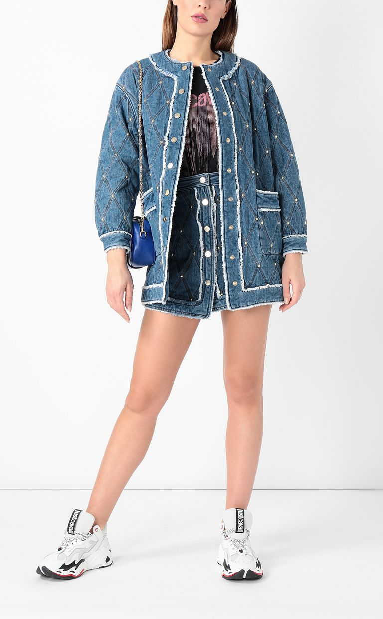 JUST CAVALLI Bomber jacket in quilted denim Coat Woman d