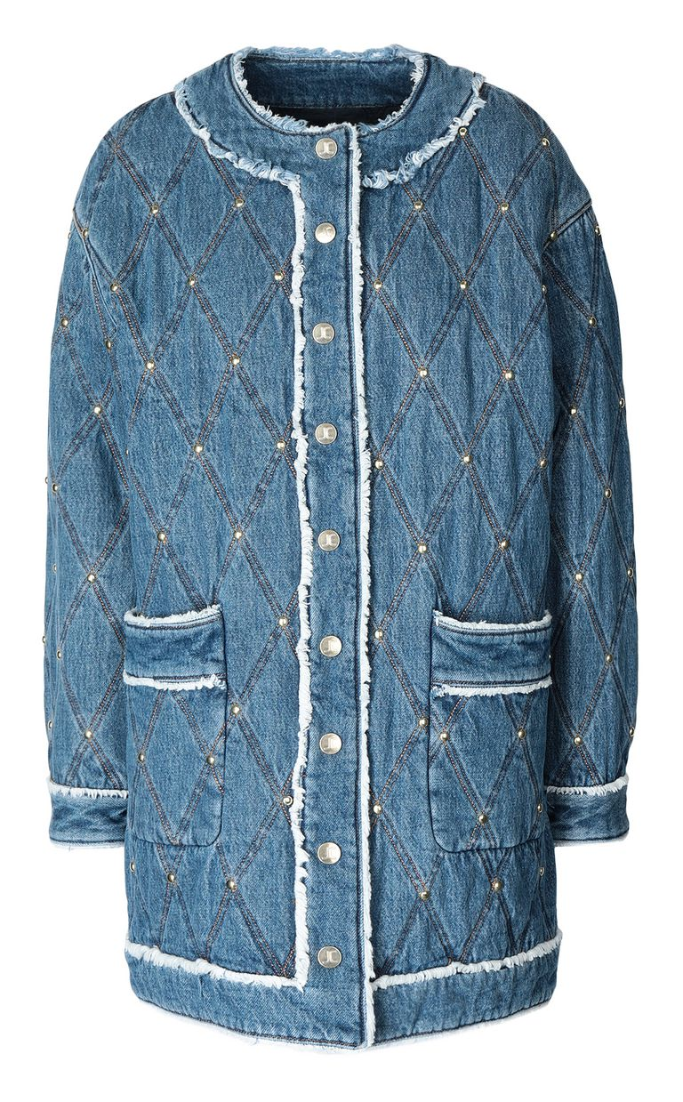 JUST CAVALLI Bomber jacket in quilted denim Coat Woman f