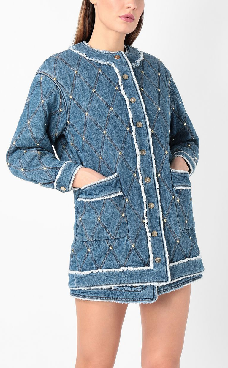 JUST CAVALLI Bomber jacket in quilted denim Coat Woman r