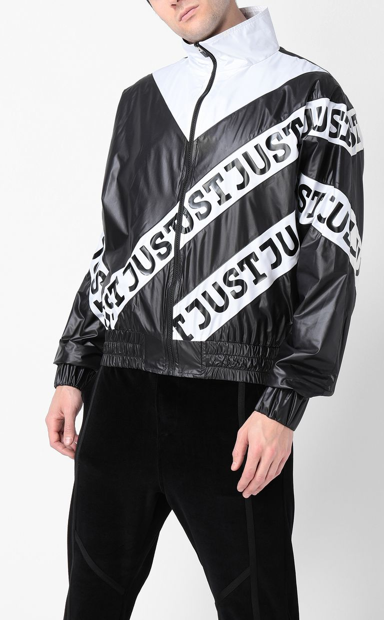 JUST CAVALLI Nylon jacket with Just print Jacket Man r