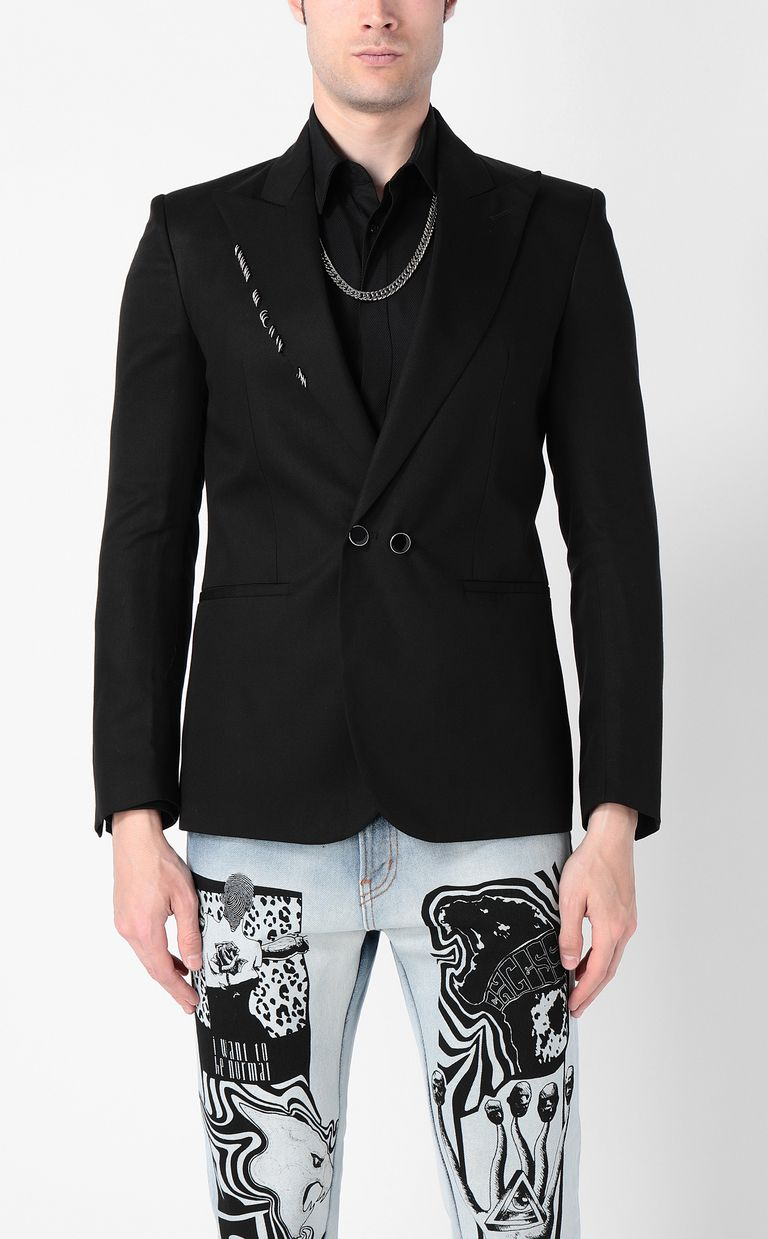 JUST CAVALLI Black jacket with pierced details Blazer Man r