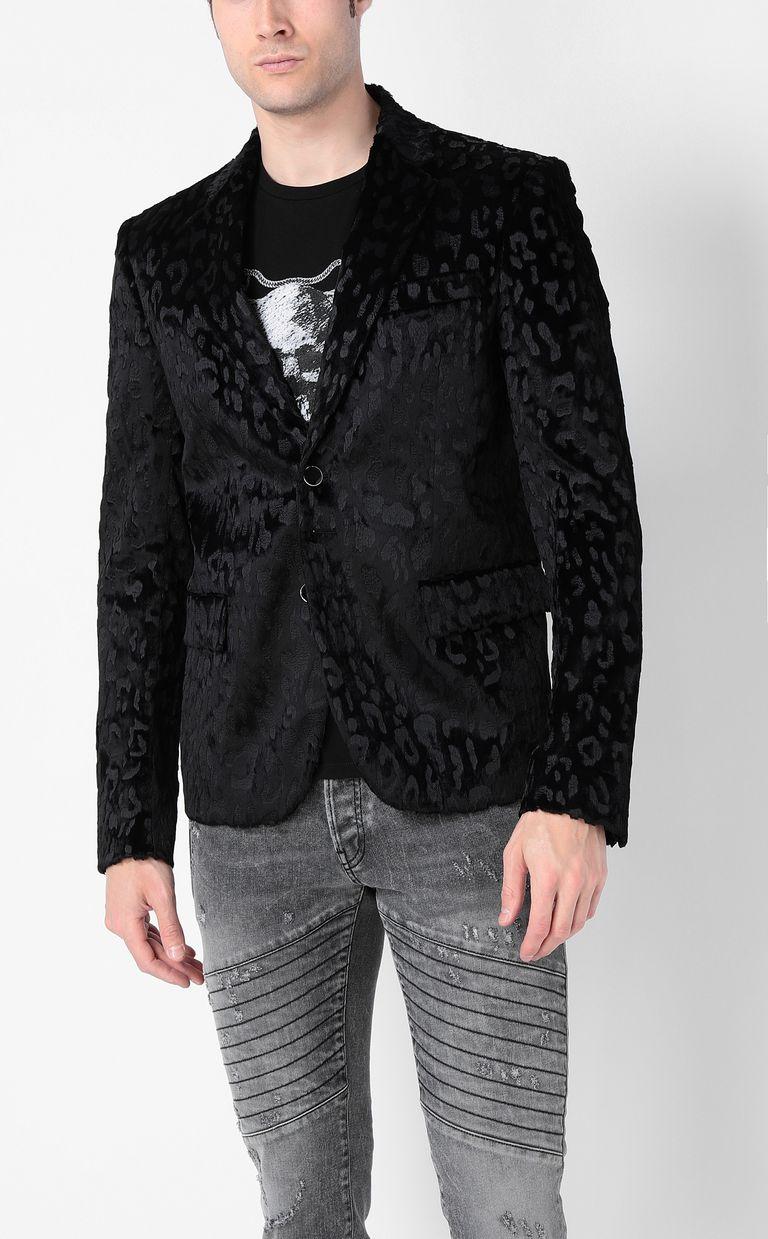 JUST CAVALLI Jacquard-leopard jacket Blazer Man r