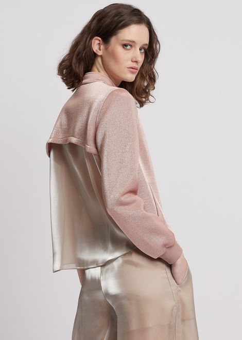 Blouson in lurex fabric with satiny back