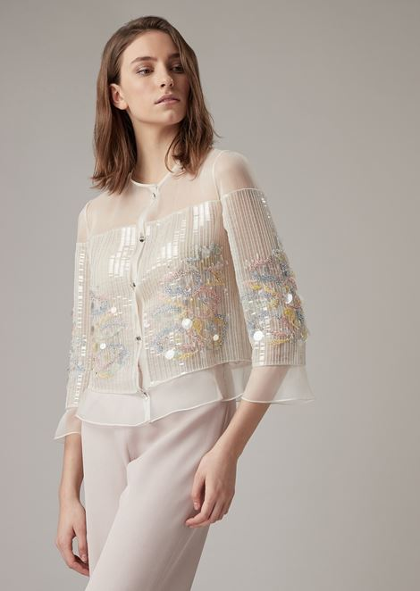Jacket in silk organza with embroidered sequins and crystals