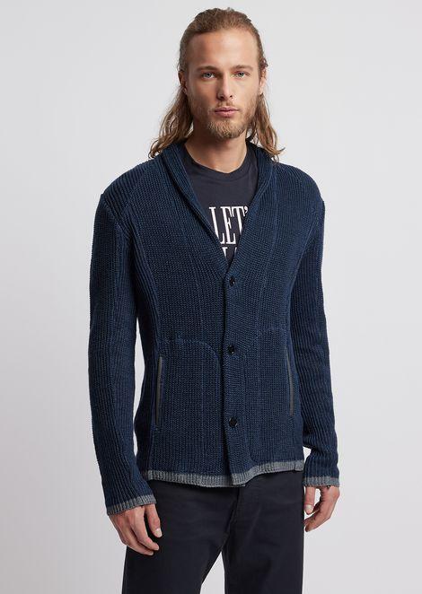Cardigan in linen jersey with shawl neckline