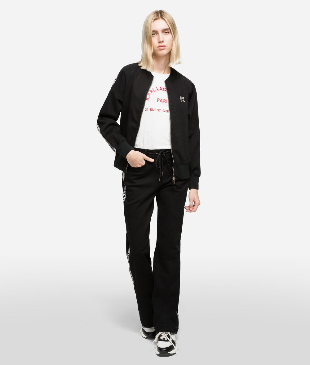 KARL LAGERFELD Sporty Bomber Logo Jacket Jacket Woman f