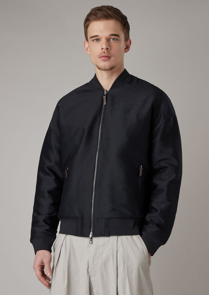 f606717b9 Reversible bomber jacket in embroidered Japanese fabric