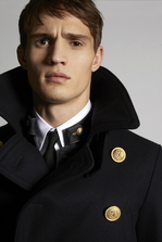 DSQUARED2 Wool Peacoat With Military Details Coat Man