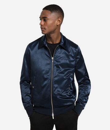 KARL LAGERFELD SATIN COLLEGE JACKET