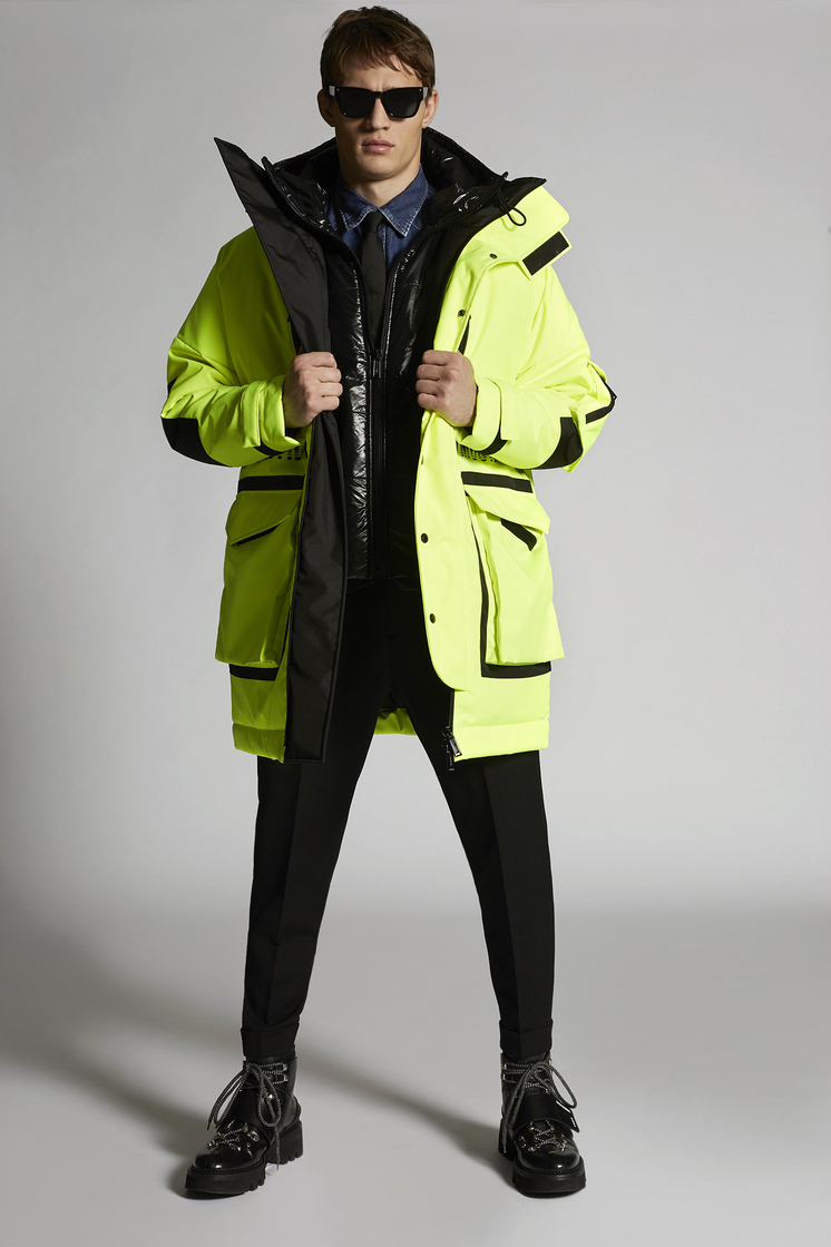 DSQUARED2 Technical Layered Double Hooded Parka With Back Mountain Print Jacket Man