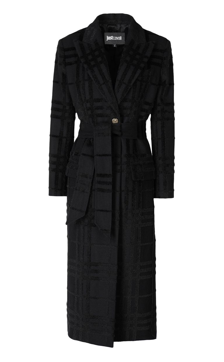 JUST CAVALLI Tartan coat with belt Coat Woman f