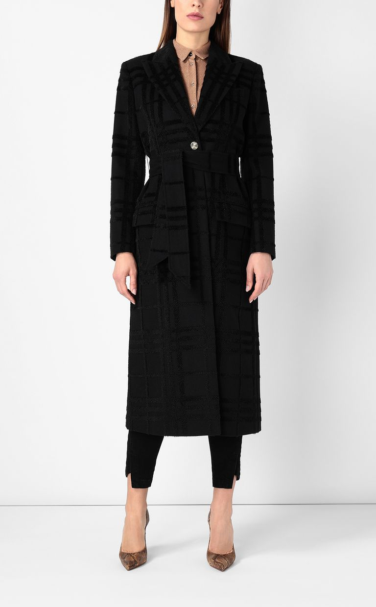 JUST CAVALLI Tartan coat with belt Coat Woman r