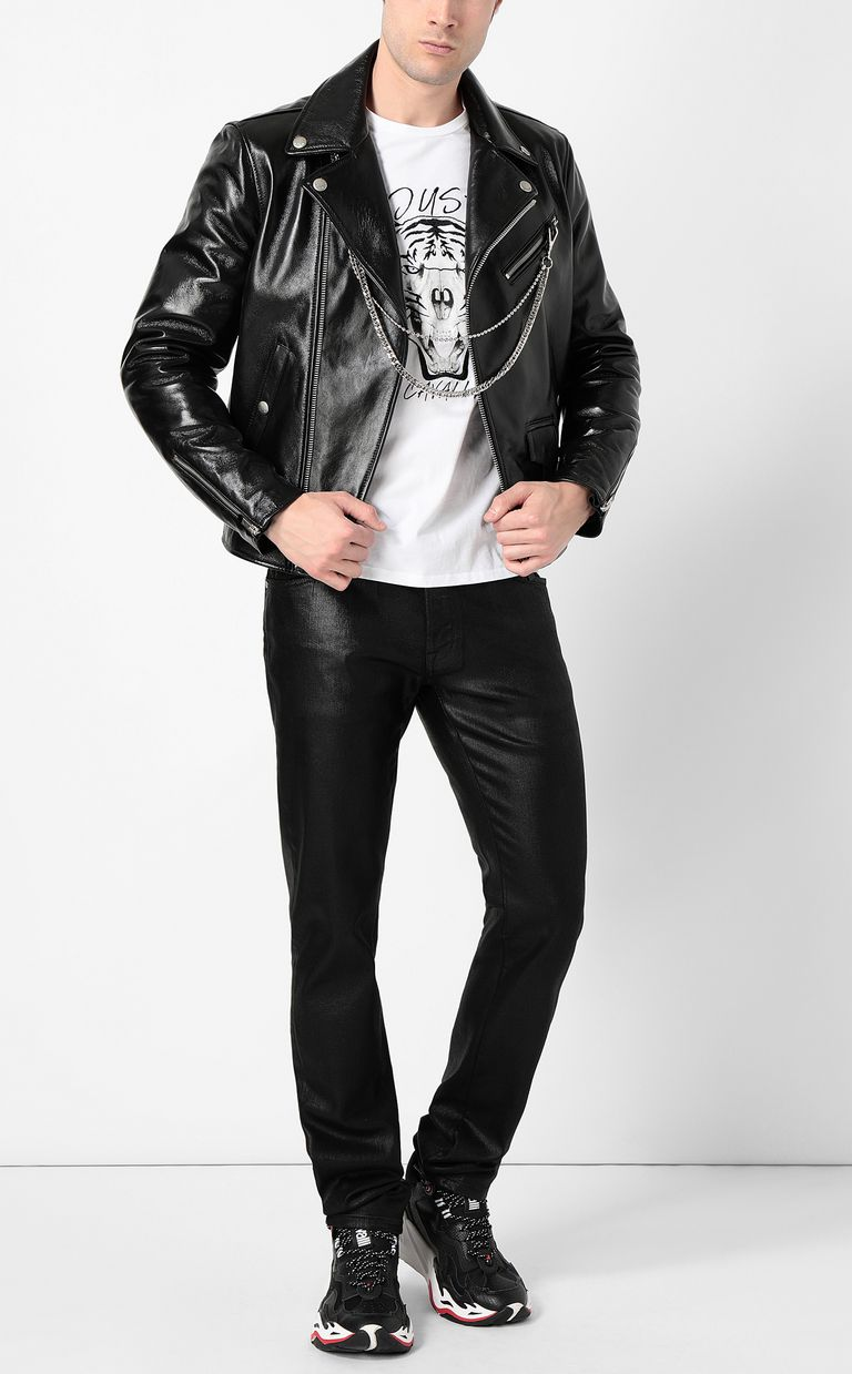 JUST CAVALLI Leather jacket with chain detail Leather Jacket Man d