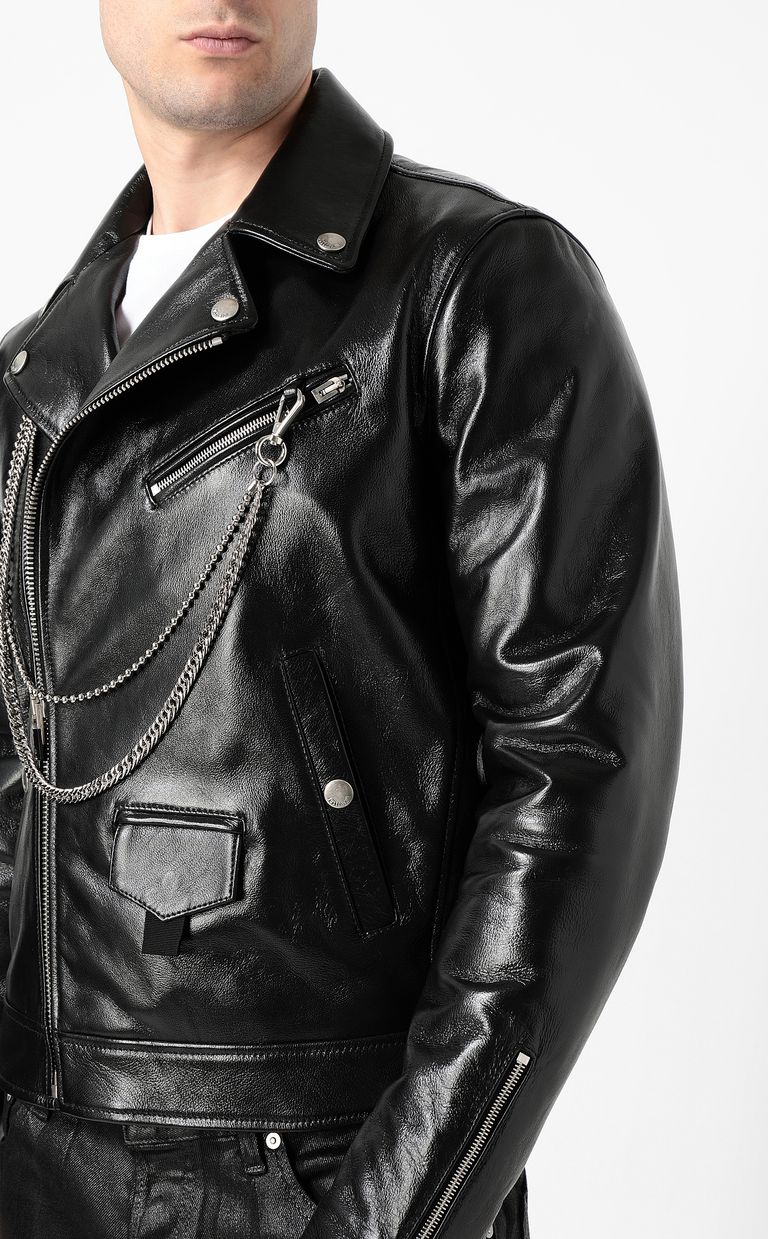 JUST CAVALLI Leather jacket with chain detail Leather Jacket Man e