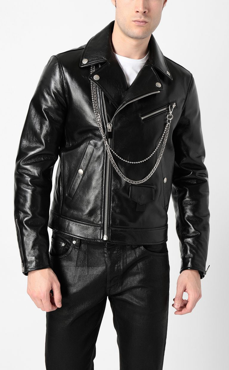 JUST CAVALLI Leather jacket with chain detail Leather Jacket Man r