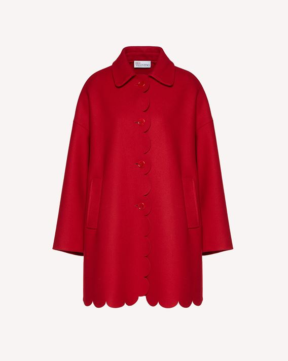 REDValentino Wool and cashmere coat with scallop detail