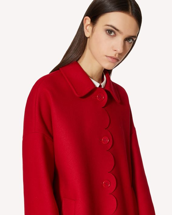 REDValentino Scallop detail wool Cashmere coat