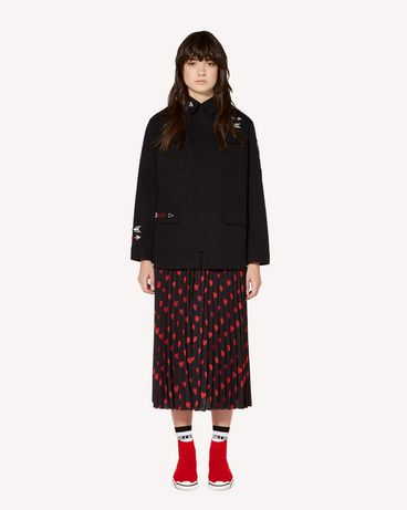 REDValentino Cotton-gabardine pea coat with Heart and Arrow embroidery