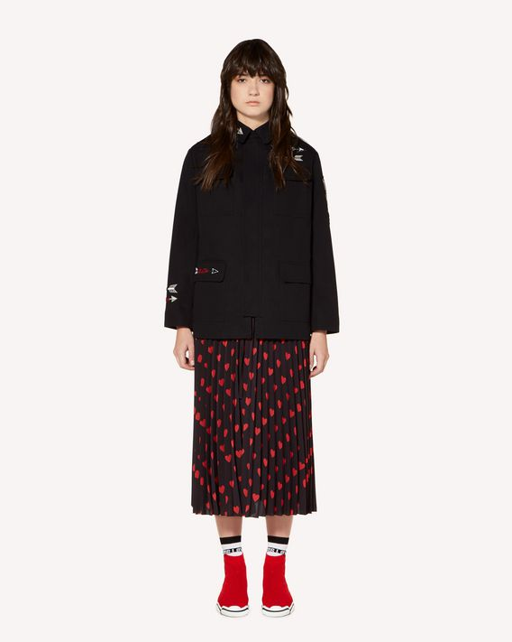 REDValentino Hearts and arrows embroidered cotton gabardine caban